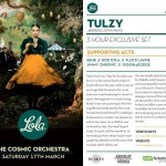 Lola at the Cosmic Orchestra Ft Tulzy at Blakes Bar this Saturday!