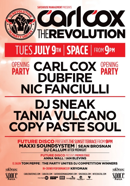 Carl Cox as Space Ibiza all the line-ups in all the rooms - BPM Mag