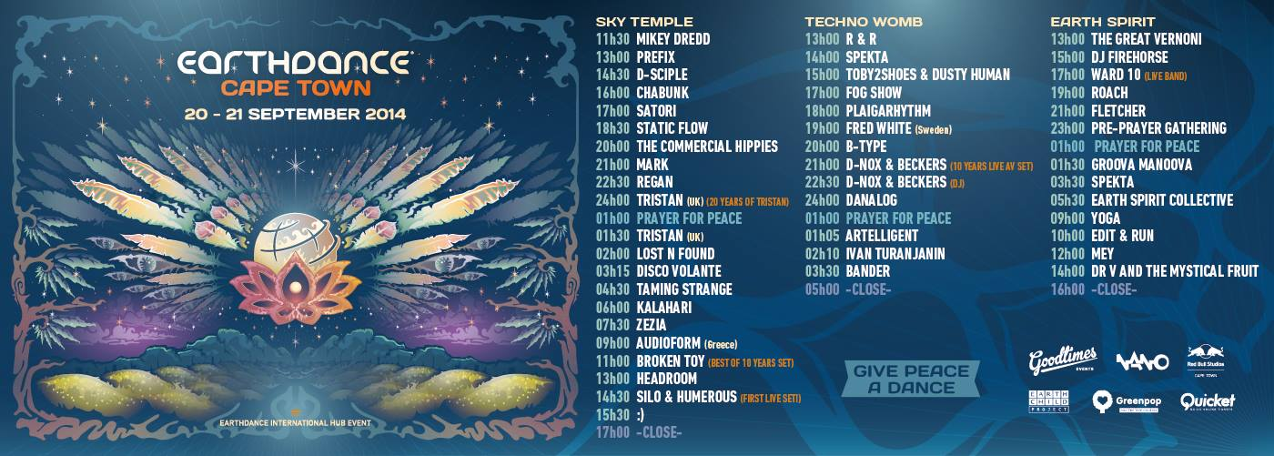 earthdance cape town 2014 lineup times