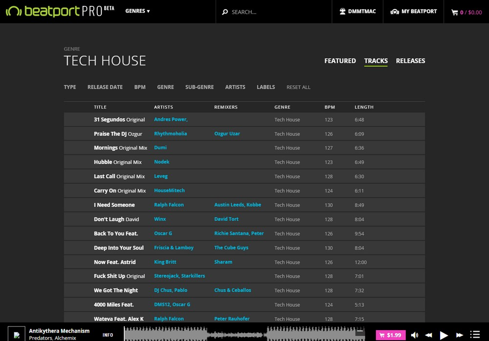 Beatport pro a first look at the new version for Beatport classic tech house