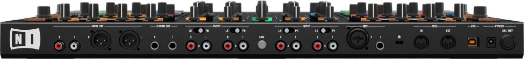 XLR Outputs, booth out, 2 Mic inputs, external device connect per channel and midi in/out