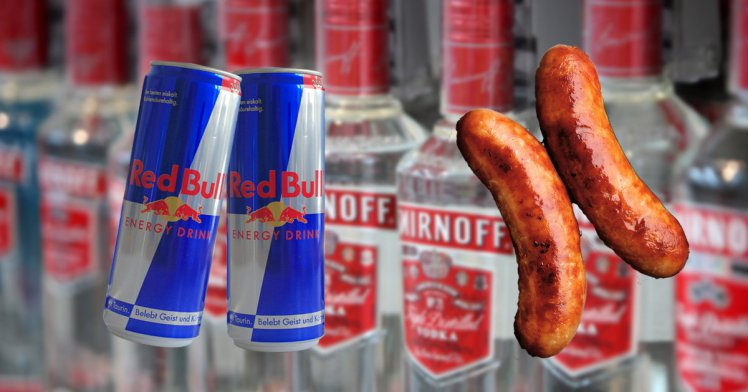 Vodka Red Bull sausages