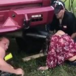 Festival faux pas: girl gets head stuck in truck exhaust pipe (Video)