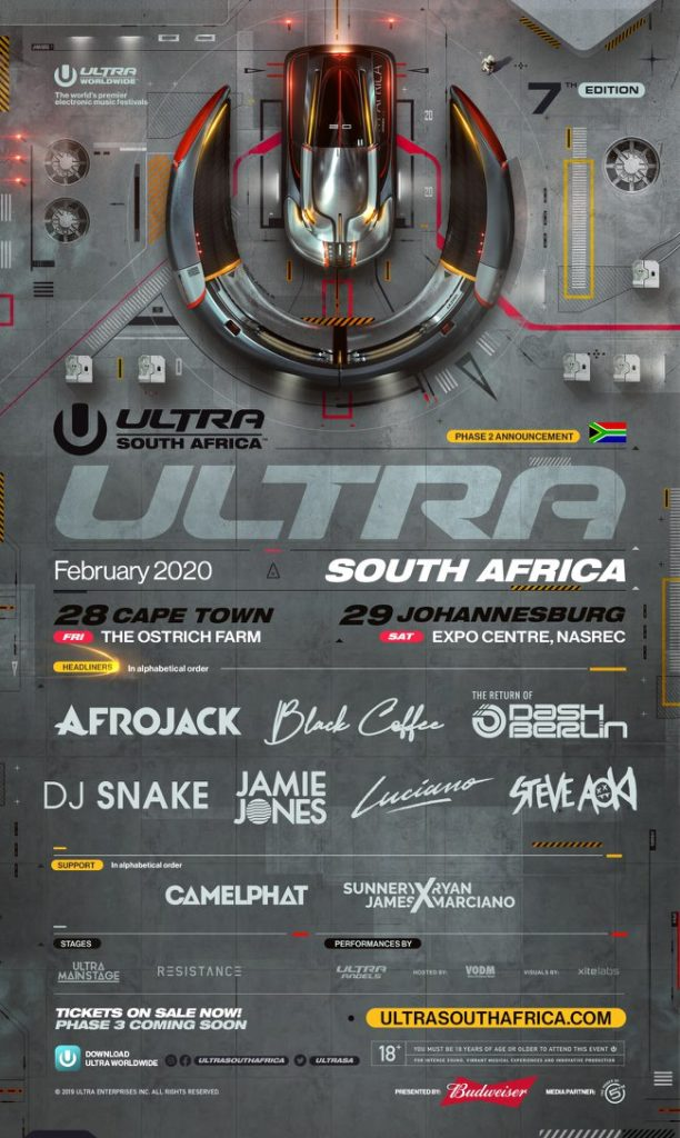 Ultra South Africa 2020 Phase 2 lineup